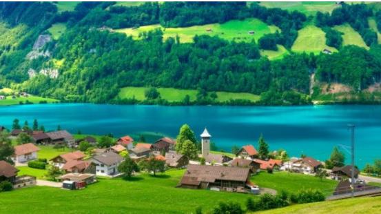 Summer in Lungern, a pretty village, Switzerland